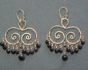Hammered swirl earrings with black spinel Siren 196
