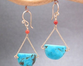 Red Coral, Turquoise Earrings Modglam 142