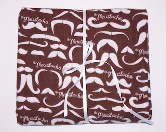 Extra Large Receiving/Swaddle Blanket or Nursing Cover - Chocolate Brown MUSTACHE