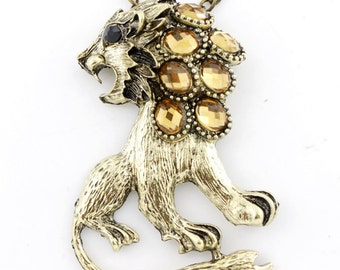 Gorgeous Gold-tone YELLOW Crystal Lion Pendant NECKLACE