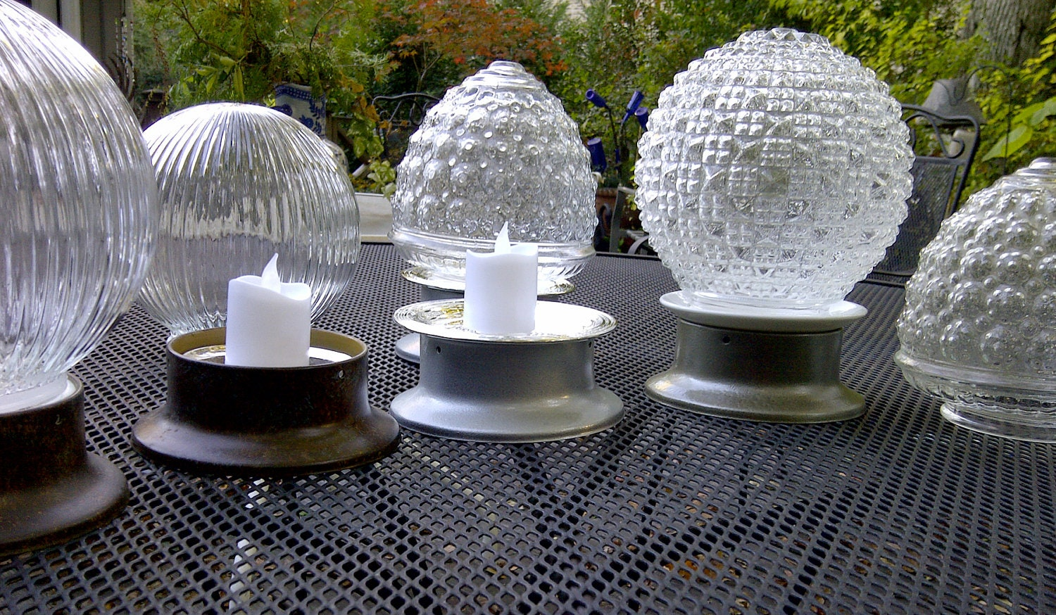 Items similar to outdoor accent globe candle lights on etsy for Yard accent lights