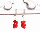 Red or Pink Coral Earrings Adorable Peanut Shaped Clustered Coral Beads on Gold or Silver Earwires