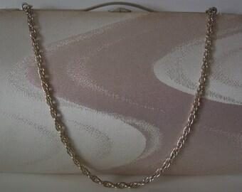 Bridal handbag, silver and pale pink clutch purse, silk brocade, vintage Japanese wedding purse