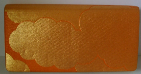 Bridal bag,  silk brocade clutch purse, orange and gold, 1981 vintage Japanese handbag