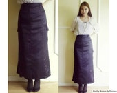 80s - Plus Size long black satin skirt , mermaid skirt, side pockets, YOORS, (Large)