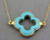 Turquoise Clover Necklace 24k gold edged on Gold Fill chain