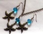 Starfish Jewellery Set, Starfish Earrings and Necklace Set, Bronze Nautical Jewellery, Starfish Necklace, Starfish Earrings, Starfish Set