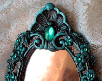 Small Accent Mirror Black and Teal Hand Painted Jewelled Hollywood Regency Gift Boxed