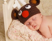 Reserved for SONIA - 2 baby hats  - Rudolph and Top Hat - size 3 months - acrylic - free shipping