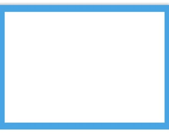 A7 Border Flat Notecard (5 1/8 x 7) - Pool Blue Border - 50 Qty.