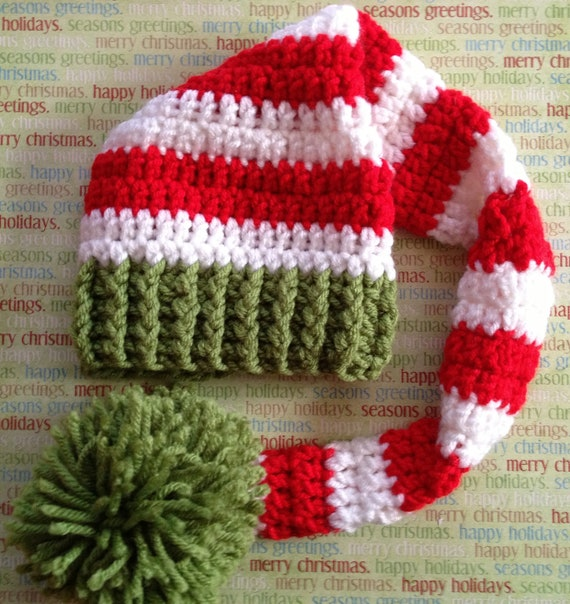 Crochet Pattern Stocking Hat : Items similar to Crochet Christmas Stocking Hat on Etsy