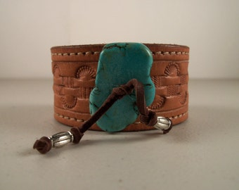 Cowboy Cuff from Repurposed Cowboy Belt with Turquoise Stone - Made in Texas