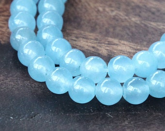 Dyed Jade Beads, Light Sky Blue, 6mm Round - 15 Inch Strand - eSJR-B29-6