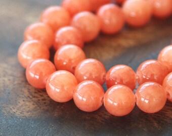 Mountain Jade Beads, Salmon, 6mm Round - 15 Inch Strand - eMJR-R34-6