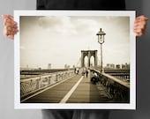 Brooklyn Bridge Photograph 16x20, New York Giclee Print, Old Look Black and White, Living Room Decor