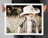 Cowboy Photography 16x20, Childrens room decor - Large Art Prints, Rustic dream , Texas star boy lone star, autumn