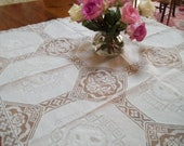 Vintage wedding  snow white lace embroidered shabby chic cottage elegant  tablecloth by herminas cottage