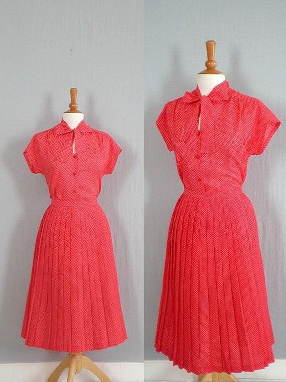 Vintage Dress /  Vintage 1970s Dress /  Polka Dot Dress /  Blouse and Skirt