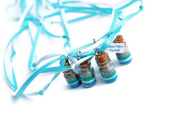 Mermaid Necklaces, Fairy Tale, Mermaid dust, Tiny, Mermaid Party Favors,  Blue, Mermaid Party