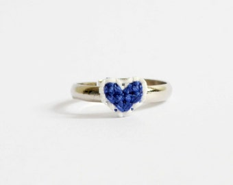 Sapphire heart cross stitch ring, royal blue, heart ring, dark blue, gifts for her, gifts for bestfriends, gifts for girls