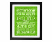 Children's Christmas Songs Subway Art | Holiday Home Decor Digital Printable - INSTANT DOWNLOAD