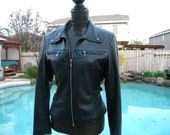 Womens Studded Leather Jacket, Fitted Leather, Black Leather Jacket, Goth Jacket, Leather Retro Jacket (NN) Size Large