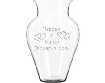 Personalized Vase Sand Carved (sandblasted) Great Wedding or Anniversary Gift