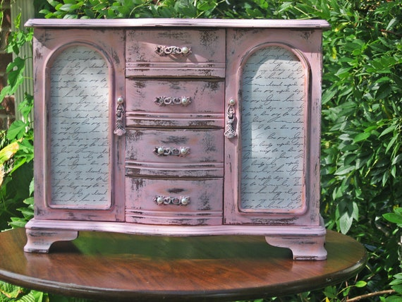 French Farmhouse Armoire Jewelry Box, Handpainted Pink