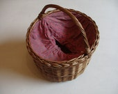 Picnic Round Basket Vintage Wicker made in Yugoslavia