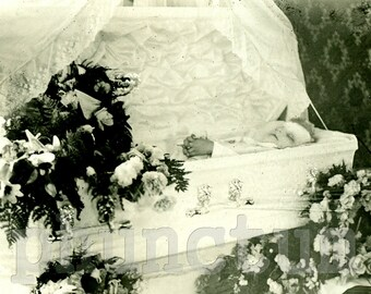 Postmortem Little Boy in Coffin RPPC Antique Post Mortem Photograph Real Photo Postcard Memento Mori