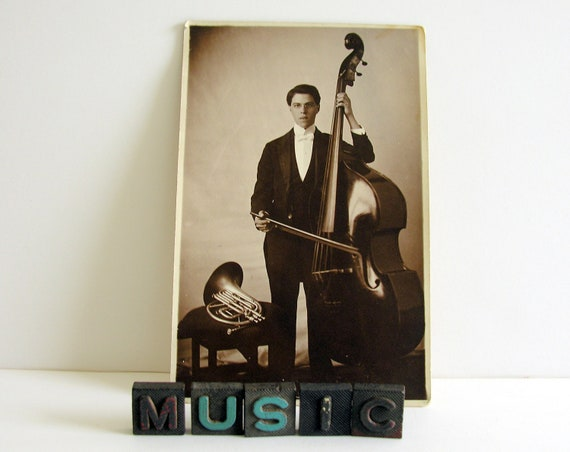 Upright Bass Musician Antique Photo French Horn Pince Nez Glasses White Tie Fancy Dress Vintage Found Photograph