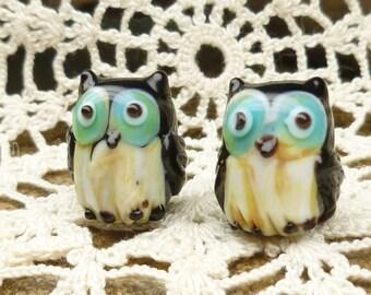 Adorable Turquoise, White, Black Owl Lampwork Beads (2)