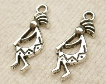 Kokopelli Fertility, Agriculture, Southwestern Symbol, Tribal Figure Antique Silver (8) - S34
