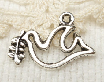 Noah's Arc Peace Dove with Olive Branch Charms, Antique Silver (6) - S94