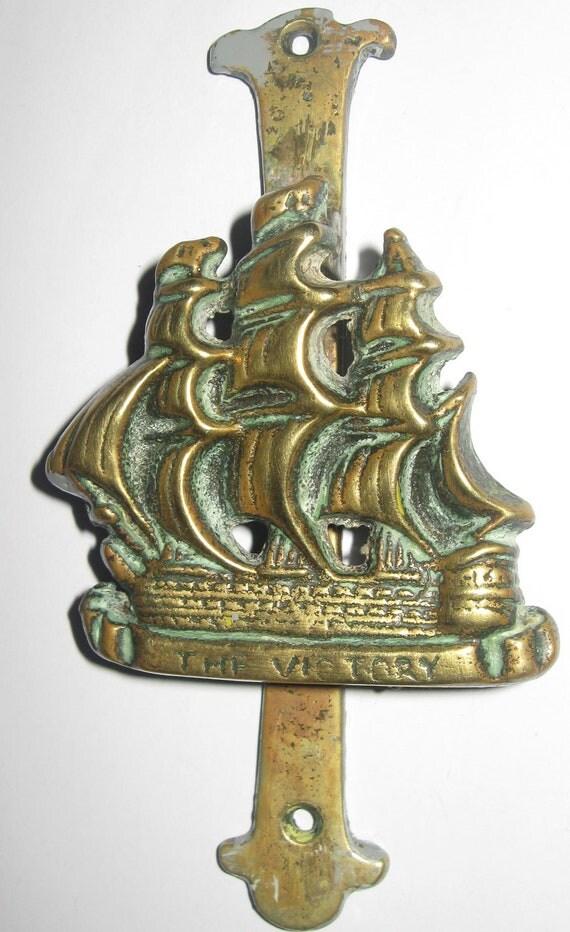 Unusual vintage brass door knocker of hms victory flag ship of - Unusual door knocker ...