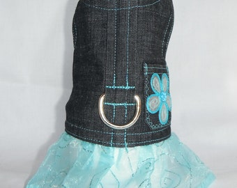 Denim dog harness dress size XXS, XS, S, M (Made to order)