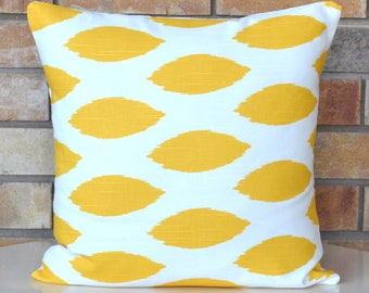 CLOSING SALE Yellow Ikat Decorative Pillow Cover accent pillow modern pillow cover 18x18 inches
