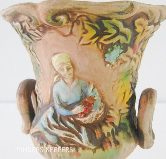 1950s 1960s Vintage Napco Pottery Mediterranean Tuscan Vase
