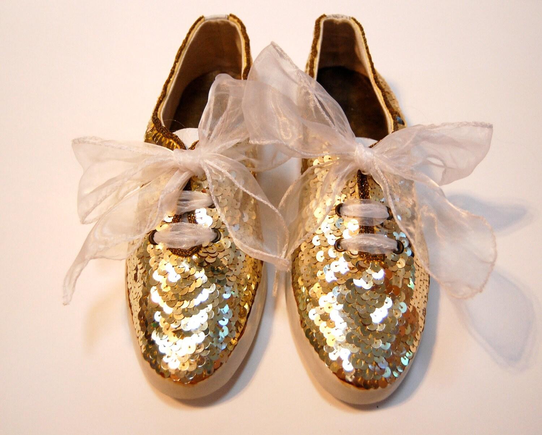 Gold Sequin Tennis Shoes