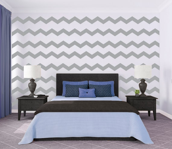 Chevron wall pattern large wall decal custom vinyl art for Chevron template for walls