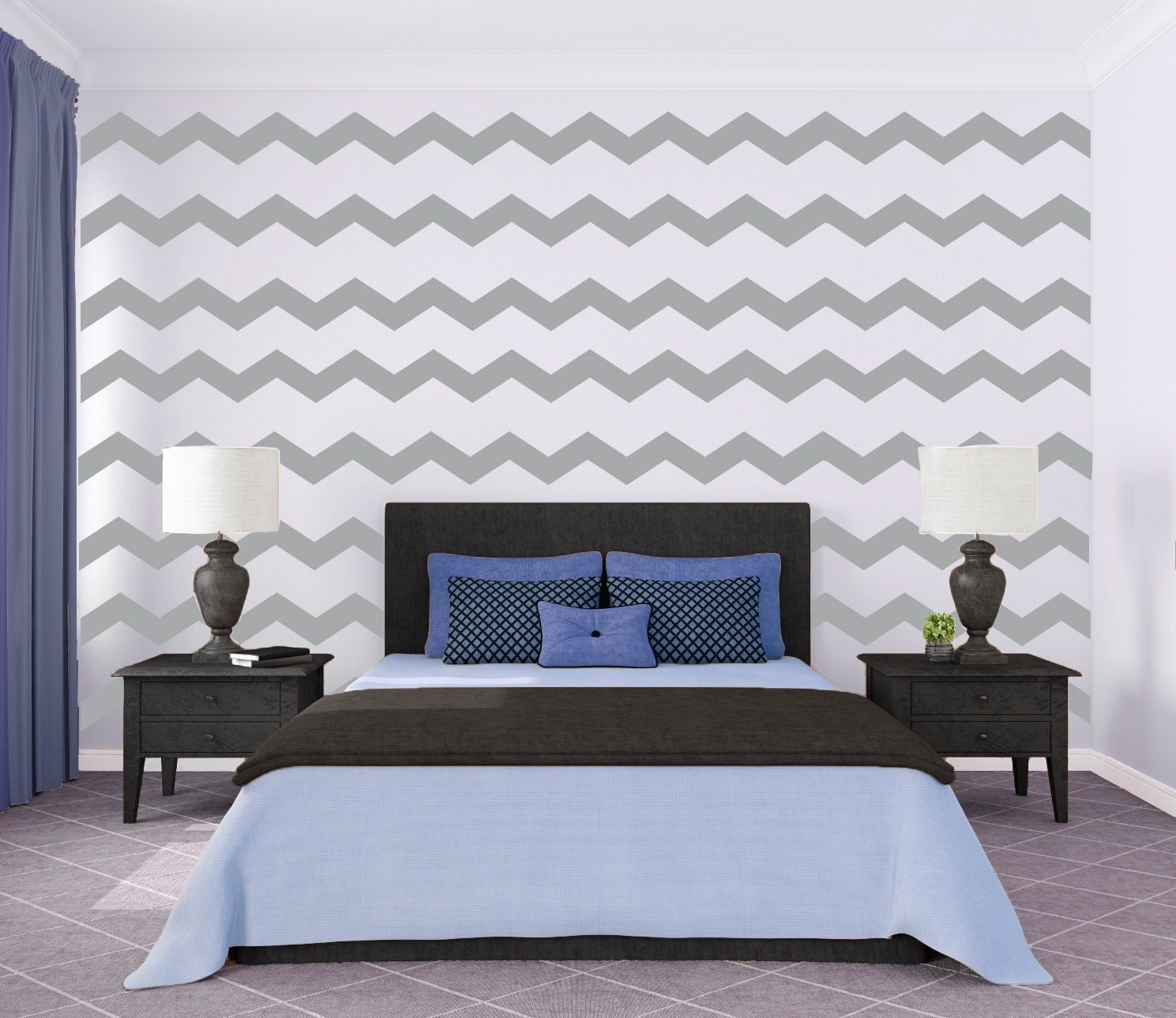 Chevron Wall Pattern Large Wall Decal Custom Vinyl Art
