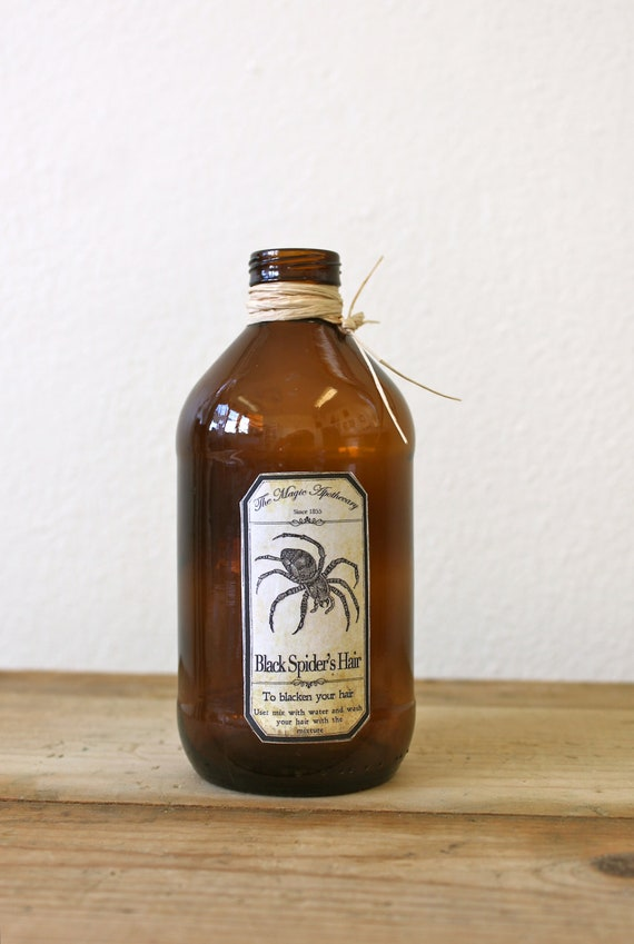 Vintage Bottle with Spooky Spider Apothecary Label
