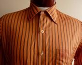 vintage 60's Hampshire House by Van Heusen button up collared men's/unisex dress shirt/french cuff/ burnt pumpkin orange/charcoal grey verti