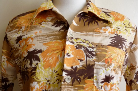vintage 60s/70s Hang Ten Hawaiin Disco men's/unisex collar short sleeve shirt, warm fall autumn earth tones, hawaiian flowers palm trees pin