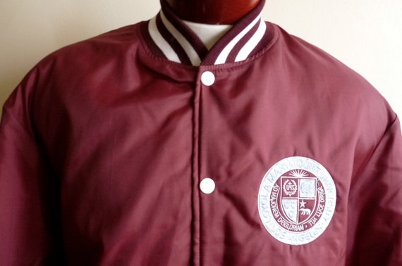 80's/90's Holloway Loyola Marymount College maroon burgundy university college varsity men's/unisex bomber jacket, embroidered applique logo