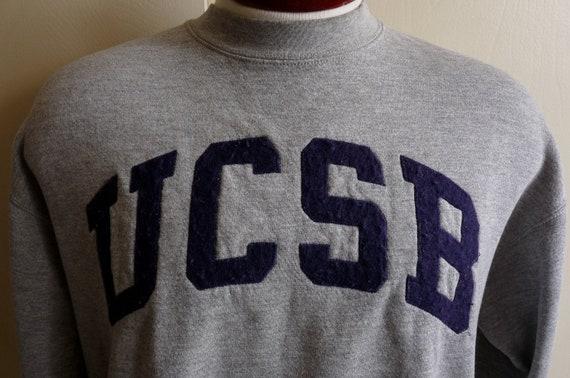 reserved DF vintage 80's UCSB, University of California, Santa Barbara heather grey fleece college/university sweatshirt, by Jansport, made