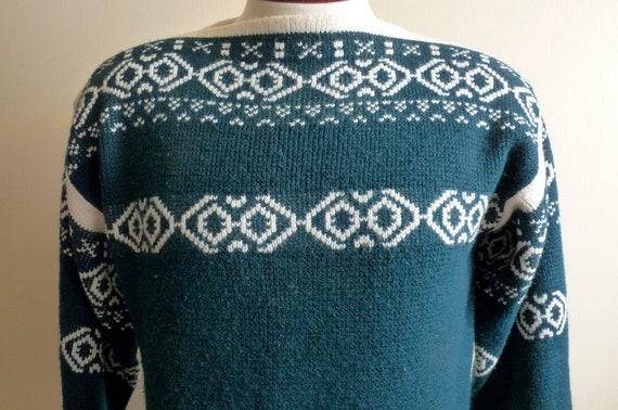 50's/60's Arrow Ski Lodge alpine/scandinavian style abstract geometric pattern hunter/deep forest green/ winter/ski men's/unisex sweater