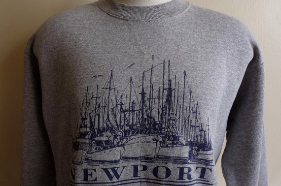 90's Newport, Rhode Island souvenir men/unisex heather grey nautical print/illustration fleece sweatshirt, Josten's sportswear, adult men's