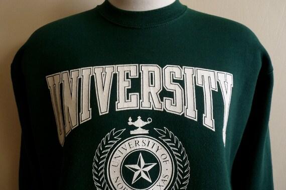 vintage 80's University of North Texas college men's/unisex dark hunter green sweatshirt, white print logo, vintage jansport made in usa, me