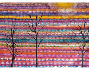 P28 - Abstract Trees ~ Pink, Turquoise Desert Art Postcards for Postcrossing or Mailing